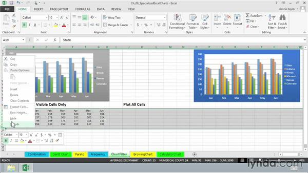 Producing dynamic charts by using filters: Excel 2013: Charts in Depth