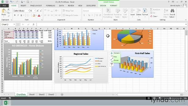 Printing charts: Excel 2013: Charts in Depth
