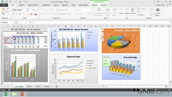 Copying and linking charts with Word and PowerPoint: Excel 2013: Charts in Depth