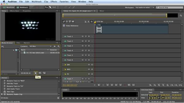 Importing elements: Building a Commercial Soundtrack in Audition