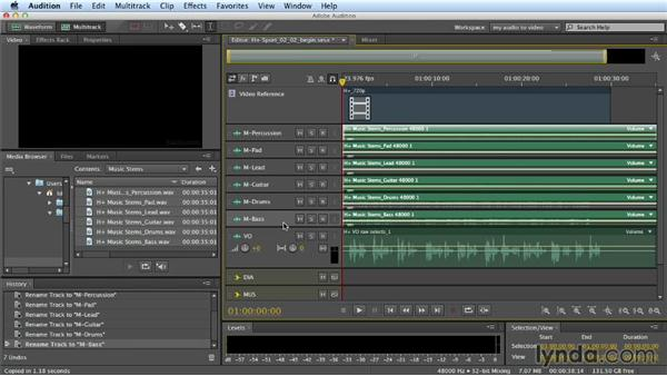Working with music tracks: Building a Commercial Soundtrack in Audition