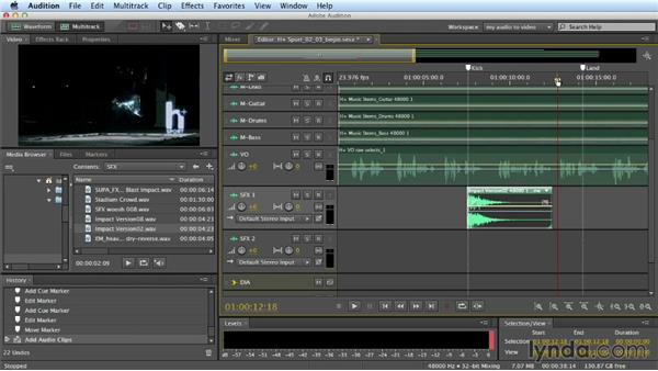 Working with sound effects tracks: Building a Commercial Soundtrack in Audition
