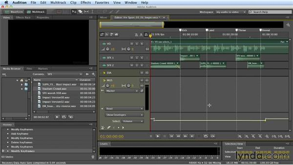 Mixing with automation: Building a Commercial Soundtrack in Audition