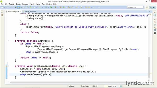 Setting a map's initial state programmatically: Building Mobile Apps with Google Maps Android API v2