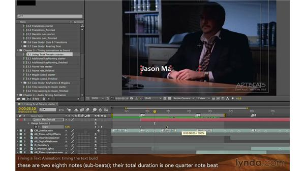 Timing a text animation: Editing and Animating to Sound with Adobe After Effects