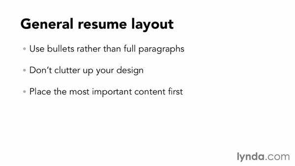General resume layout and design principles: Designing a Resume