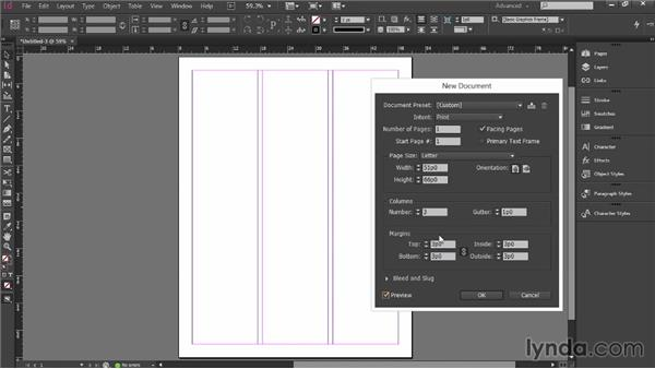 Setting up InDesign for resume design: Designing a Resume