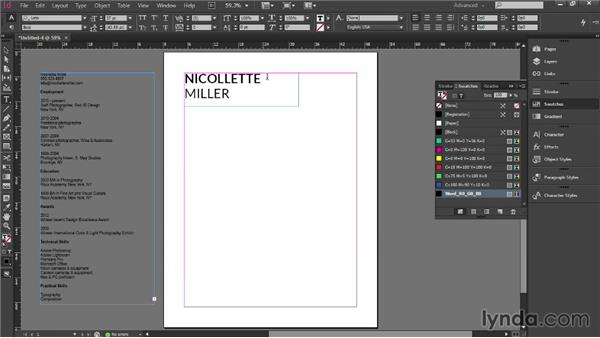 Building the layout: Designing a Resume