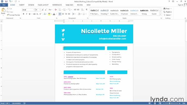 Making an artistic resume in Word