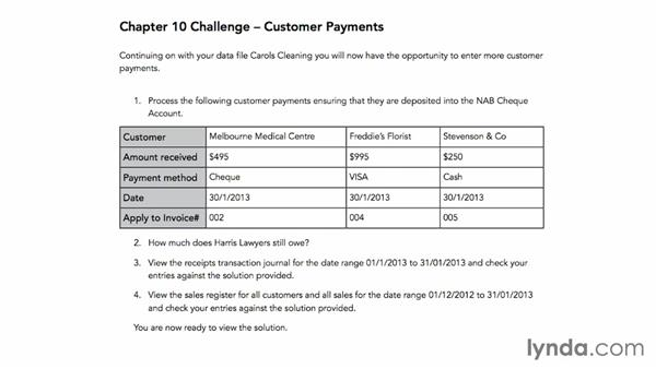 Challenge: Customer payments: MYOB AccountRight Essential Training