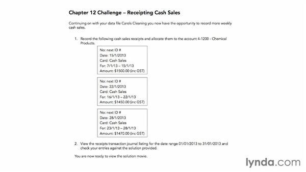 Challenge: Receipting cash sales: MYOB AccountRight Essential Training