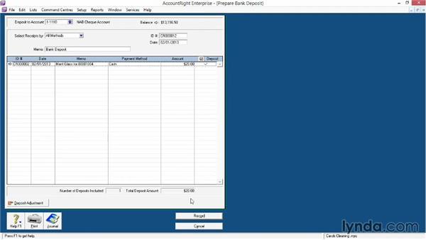 Preparing a bank deposit: MYOB AccountRight Essential Training