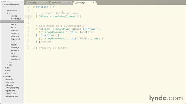 Activating menu items automatically: Bootstrap 3: Advanced Web Development