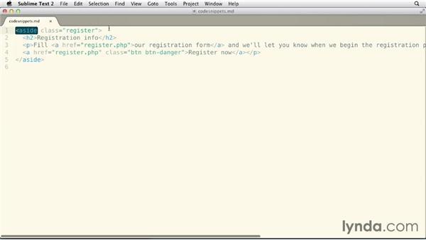 Adding the registration info promo: Bootstrap 3: Advanced Web Development