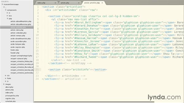 Using a ScrollSpy component: Bootstrap 3: Advanced Web Development