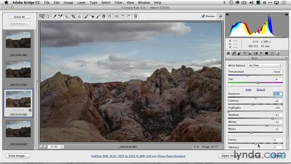 Basic exposure with Adobe Camera Raw: Creating Time-Lapse Video
