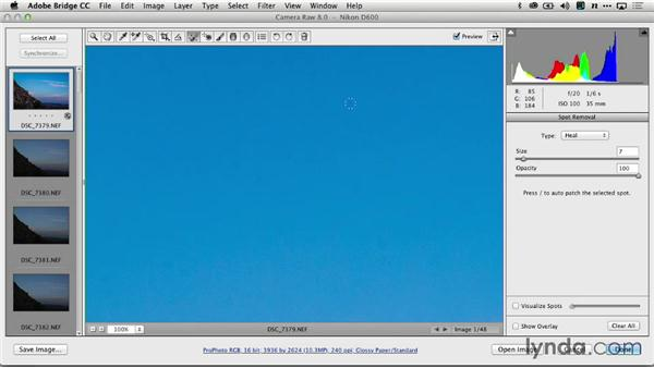 Removing spots with Adobe Camera Raw: Creating Time-Lapse Video