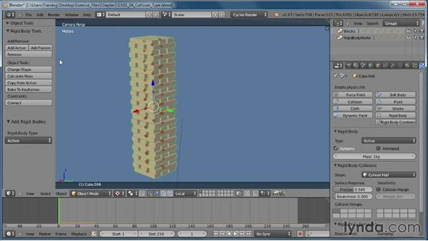 Choosing a collision type: Creating Rigid Body Simulations in Blender