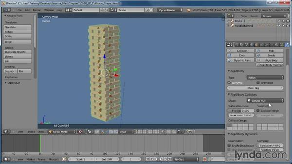 Applying a collision shape: Creating Rigid Body Simulations in Blender