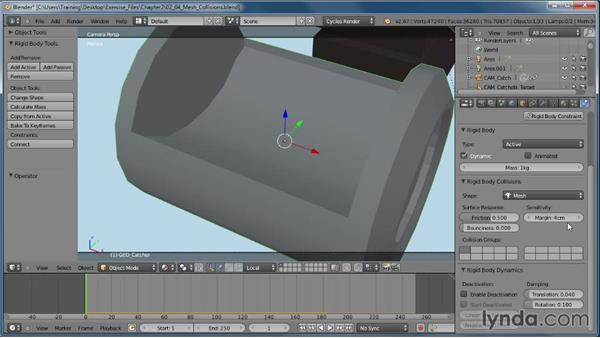 Working with the mesh collision shape: Creating Rigid Body Simulations in Blender