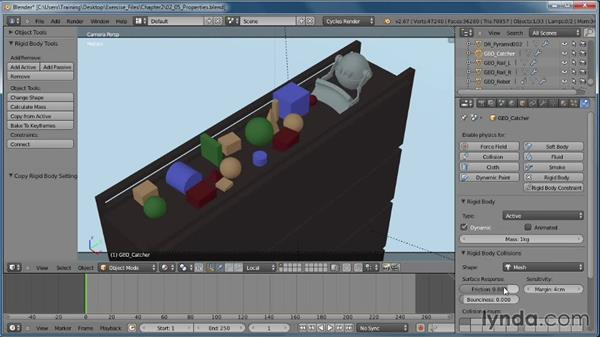Applying physical properties: Creating Rigid Body Simulations in Blender