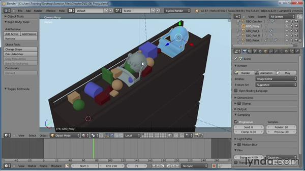How and when to use a proxy object: Creating Rigid Body Simulations in Blender