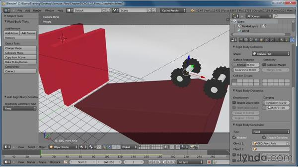 Setting up a Fixed constraint: Creating Rigid Body Simulations in Blender
