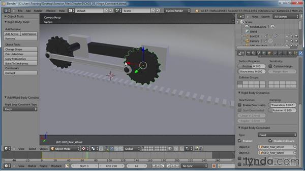 How the Hinge constraint works: Creating Rigid Body Simulations in Blender