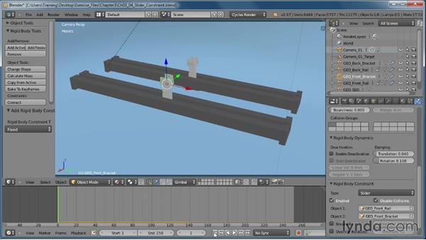 Using the Slider constraint: Creating Rigid Body Simulations in Blender