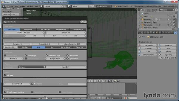 Creating fracture patterns: Creating Rigid Body Simulations in Blender