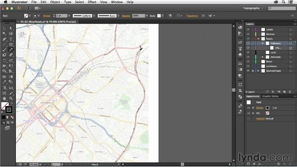Drawing minor roadways: Creating a Map with Illustrator