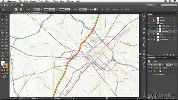 Stylizing your strokes with the Appearance panel: Creating a Map with Illustrator