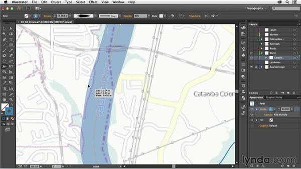 Drawing a river with a variable width: Creating a Map with Illustrator