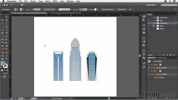 Drawing landmarks using shape tools and Pathfinder commands: Creating a Map with Illustrator