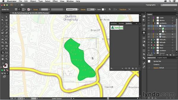 Illustrating parks and greenways with symbols: Creating a Map with Illustrator
