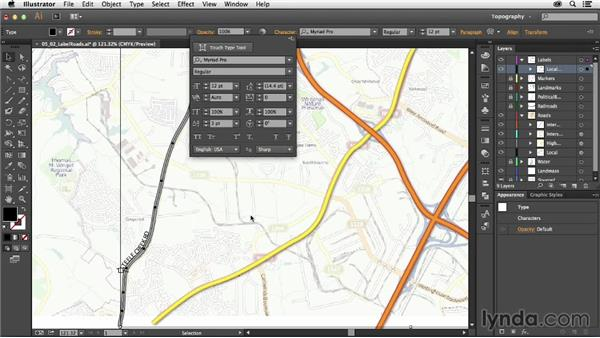 Labeling roads: Creating a Map with Illustrator
