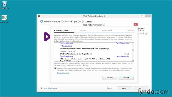 Setting up the Visual Studio and Azure SDK development tools: Up and Running with Azure