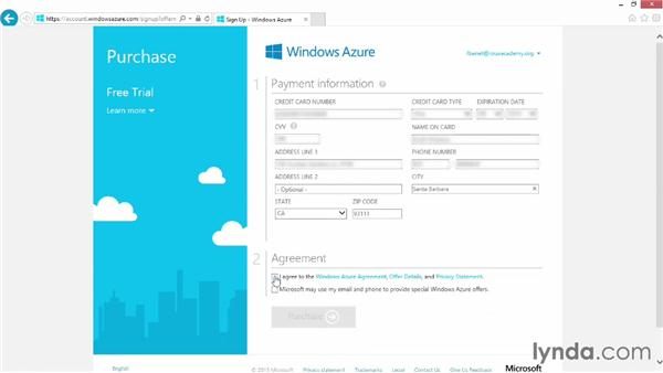 Signing up for an Azure account: Up and Running with Azure