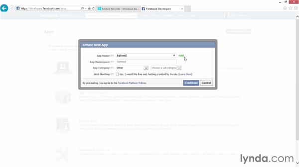 Setting up Facebook authorization: Up and Running with Azure Mobile Services