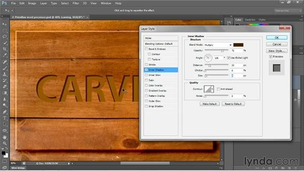 Imparting depth with a layer effect: Photoshop CC 2013 One-on-One: Intermediate