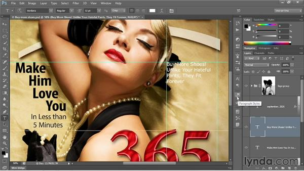 Creating and applying a paragraph style: Photoshop CC 2013 One-on-One: Intermediate
