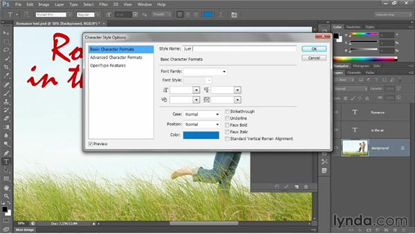 Redefining a style and styling a word: Photoshop CC 2013 One-on-One: Intermediate