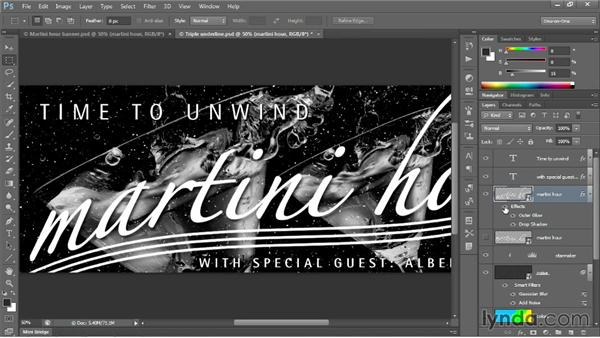 Bolstering text with layer effects: Photoshop CC 2013 One-on-One: Intermediate