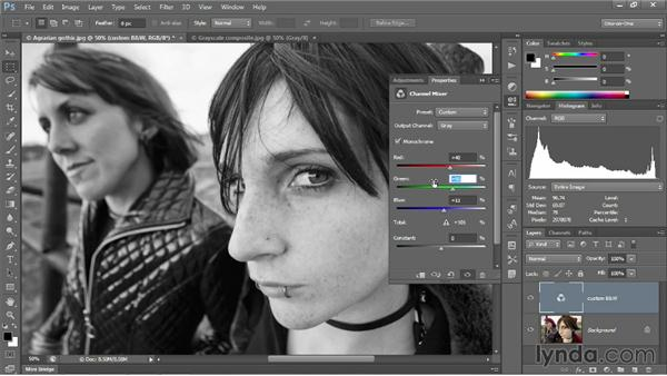 Mixing a custom black-and-white image: Photoshop CC 2013 One-on-One: Intermediate