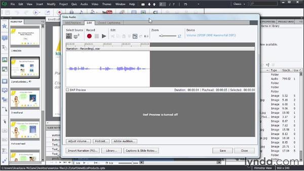 Editing audio within Captivate: Captivate Advanced Techniques