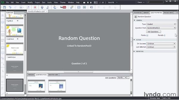 Setting up random question slides: Captivate Advanced Techniques