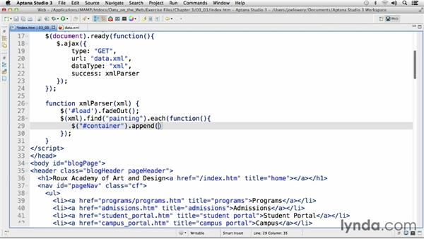 Retrieving and displaying XML data: Working with Data on the Web