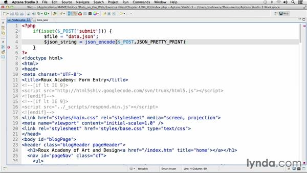 Updating your JSON data: Working with Data on the Web