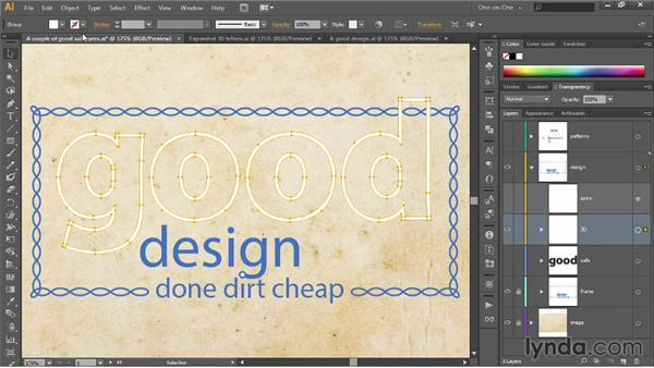 Creating 3D type as a group: Illustrator CC 2013 One-on-One: Intermediate