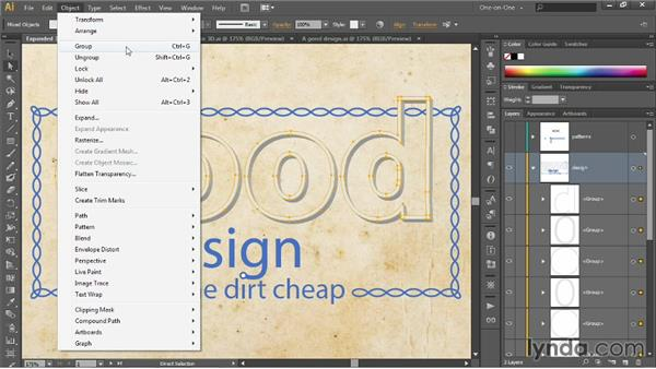 Selecting and working inside groups: Illustrator CC 2013 One-on-One: Intermediate